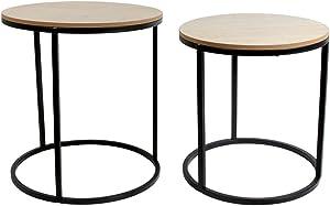 THE HOME DECO FACTORY Ensemble de 2 Tables gigognes Rondes Bois et métal