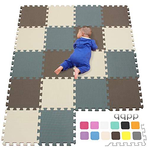 qqpp Tappeto Bambini Puzzle con Certificato CE in Morbido Gomma Eva | Tappeti da Gioco per Bambina | Tatami. 18 Pezzi (30*30*1cm), Marrone, Beige, Grigio. QQC-FJLb18N