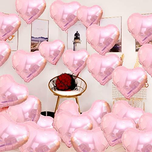 MEJOSER 30pcs 18in 45cm Globos Metalicos de Corazón Rosas + Rollo de Cinta Globos Metalizados Helio Decoración Fiesta Cumpleaños Boda