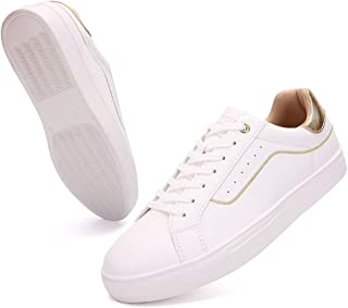 Women Low Top Leather Sneakers Fashion Skateboard Platform Classic Lace up Lightweight Casual Shoes for Women