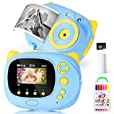 Print Camera WiFi Children Digital Camera Can Take Photos DIY Graffiti Video Recorder Built-in 2 14650 Batteries with A 8g Memory Card, USB Charging Pink (Blue)