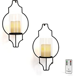 LampLust Flameless Candle Wall Sconces - Glass Hurricane Holders with Flickering LED Pillar Candles, Warm White Light, Bla...