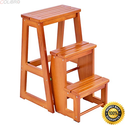 COLIBROX--Wood Step Stool Folding 3 Tier Ladder Chair Bench Seat Utility Multi-functional. chair bench for sale. wooden step stools for the kitchen. decorative step stool. fancy step stool.
