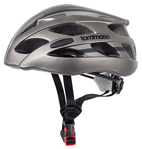Tommaso Aria Ultra Lightweight Cycling Helmet Road & MTB Bike Adjustable Fit 3 Sizes 4 Colors (Black,Matte Black,White,Titanium) Certified Safety Protection - Titanium - Small