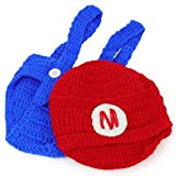 Armycrew Mario and Luigi Infant 2 Piece Outfit Crochet Hat and Pants - Mario RED