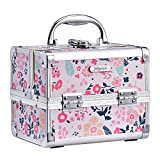 Joligrace <span class='highlight'>Girls</span> <span class='highlight'>Makeup</span> Box with Mirror Cosmetic Case Jewelry Organiser Light Weight Lockable with Keys (Beige Disty Florals)