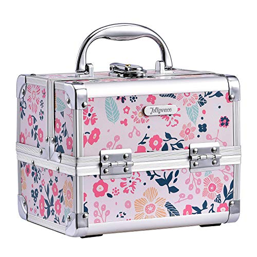 Kosmetikkoffer Schminkkoffer Schmuckkoffer Kosmetik-Makeup-Koffer mit Spiegel Pink, Blumen