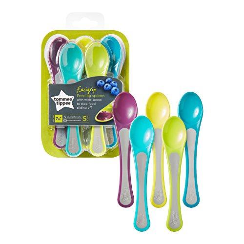 Tommee Tippee Easigrip, Cucchiai nutrizione, set da 5 pezzi, 7+ mesi, Colori Assortiti