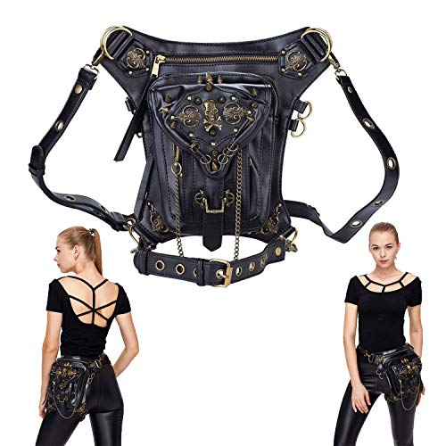 Vintage Steam Punk Rock Retro Gothic Skull Waist Pack Shoulder Bag Wallet for Men Women