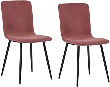 FETYDSE Velvet Dining Chairs Set of 2 Kitchen Chair Velvet Seat Black Steel Legs Reception Chairs with Backrest Soft Cushion