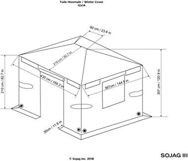 Sojag Accessories 12' x 14' Universal Winter Cover for Outdoor Sun Shelters and Gazebos, Brown