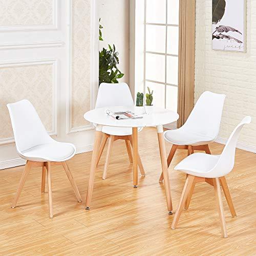 DORAFAIR Pack de 4 Sillas & Mesa, Juego de sillas de Comedor,Comedor de diseno nordico, Color Blanco