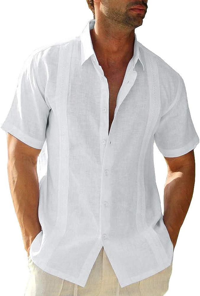 Men's Guayabera Shirts Linen Cuban Camp Short Sleeve Regular-Fit Button-Down Cotton Casual Shirt Beach Tops