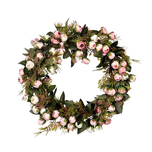 NGHSDO Wreath Artificial Flower Wreath Rose Garland With Elegant Best For Home Wall Door And Window Decoration Wedding Decoration 1 (Color : Multi, Diameter : 30cm)