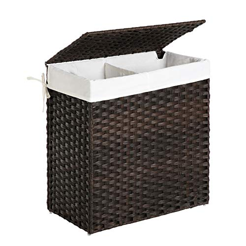 SONGMICS Handwoven Laundry Basket, 90L Synthetic Rattan Wicker Clothes Hamper with Lid and Handles (Brown)