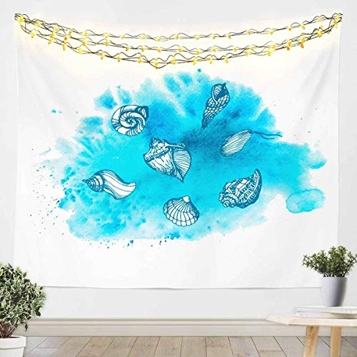 Tapiz de océano para niñas y niños océano marino manta de pared concha colgante en la pared Sealife decoración de la habitación manta de ropa de cama azul mediano 128 x 152 cm