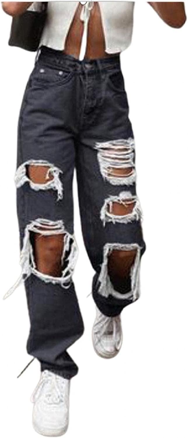 MASZONE Y2K Fashion Jeans, Women High Waisted Jeans with Holes Vintage Casual Baggy Trousers Denim Pants Wide Leg Pants