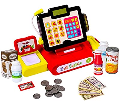 27 Piece Cash Register Set With Pretend Play Food, Money, Lights and Sounds by Big Mo?s Toys