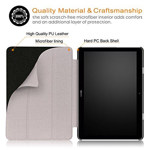 Xuanbeier Huawei MediaPad T3 10 Hülle Case-Ultra Dünn und Leicht PU Leder Schutzhülle Cover für Huawei MediaPad T3 10(9,6 Zoll), Schwarz - 3