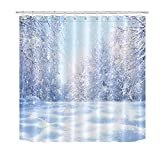 Winter Schneeflocke Duschvorhang Waldbaum Schnee Duschvorhang Set mit 12 Haken72x72 Zoll wasserdichtes Polyestergewebe