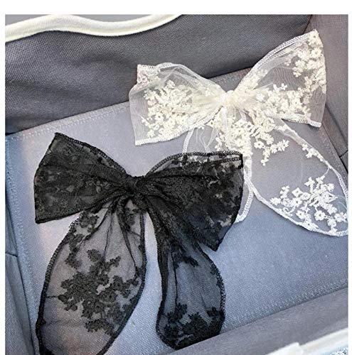 2 unids mujeres niñas lindas horquillas cuerda de pelo encaje flor arco cinta clip pelo ornamento moda diadema negro blanco accesorio de pelo
