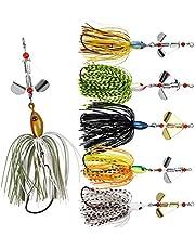 Shaddock Spinner señuelos de pesca Kit de señuelos de pesca de color mixto de pesca Spinners Buzzbait Falda de goma artificial Jig señuelo de baño para bajo, trucha, agua dulce y salada
