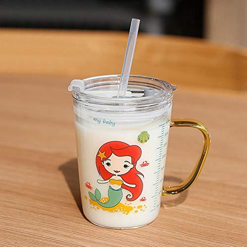 Cute Cartoon Children s Milk Glass Cups Hogar Beber Jugo Cup Transparent Water Bottle Breakfast Cup Straw Cup Kids Gifts-4_Spain