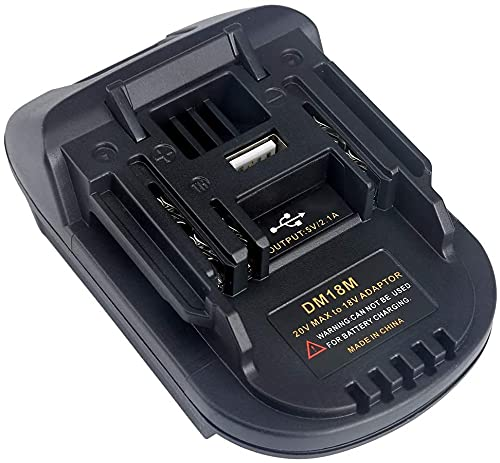Alianstore Adaptador convertidor DM18M compatible con batería Li-Ion Makita 18V 20V, adaptador compatible con Dewalt y Milwaukee M18 conversión a baterías Makit.a BL1830 BL1840 BL1850 ( USB 5V 2.1A)