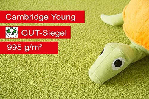 Steffensmeier Teppichboden Cambridge Young Meterware | Auslegware für Kinderzimmer Wohnzimmer Schlafzimmer | Grün, Größe: 100x50 cm