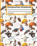 Composition Notebook: Wide Ruled Blank Writing Notebook Journal Back to School Supplies Pad Diary for Girls Boys Kids Students Teachers Teens Seamless Cute Dogs Pattern