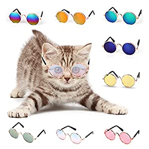 8 pcs different color sunglasses, enough quantity for pet¡¯s daily wearing, photo props or show. Fashion trend glasses, making pets more attractive, just be the super star in the party, street, photos. Legs of glasses are made of spring, more comfort...