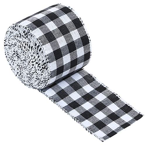 BUTTFLY White and Black Plaid Burlap Ribbon Gingham Wired Ribbon for Craft & DIY Project,Christmas Decoration,Gift Wrapping (2.5 Inches by 10 Yards)
