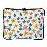 Funda para MacBook Air/MacBook Pro con diseño de estrellas sonrientes para portátiles de 17' con cremallera bidireccional y bolsa de transporte