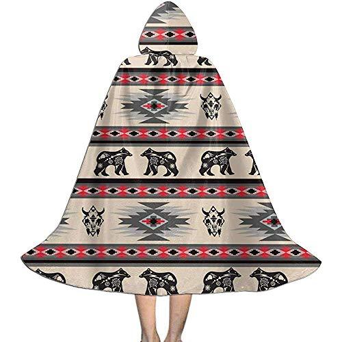 OKME Custom Mantello con Strega,Costumi con Cappuccio della Banda della Buffalo Dell'Orso Indigeno Americano per La Festa di Carnevale 118cm