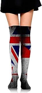 Uridy, Canadá Reino Unido Bandera británica Calcetines hasta la rodilla para mujer Novedad Correr Deportes Muslo Medias Custume Crazy Calcetines