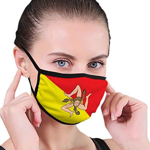 Multifunktionale Gesichtsschutzhülle,Flag Regione Sizilien Italien Europa Verfügbar Flagge Unisex Washable Wiederverwendbare Gesichtsdekorationen Für Den Persönlichen Schutz