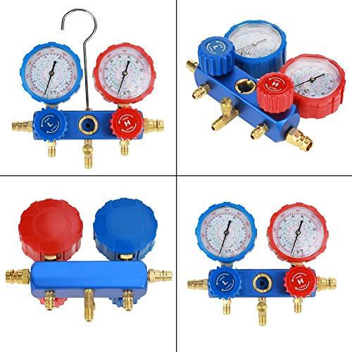 Yencoly Juego de manómetros y Bomba de vacío Profesionales, Juego de manómetros de refrigerante para Aire Acondicionado R134a con mangueras de Carga de 60 Pulgadas, Kit de refrigeración HVAC A/C