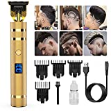 Pro T Outline Clippers Trimmer,GOOLEEN Electric Pro Li Outline Trimmer T Blade Trimmer Grooming Cordless Rechargeable,Professional 0mm Baldheaded Zero Gapped Trimmer Hair Clipper for Men(Gold)