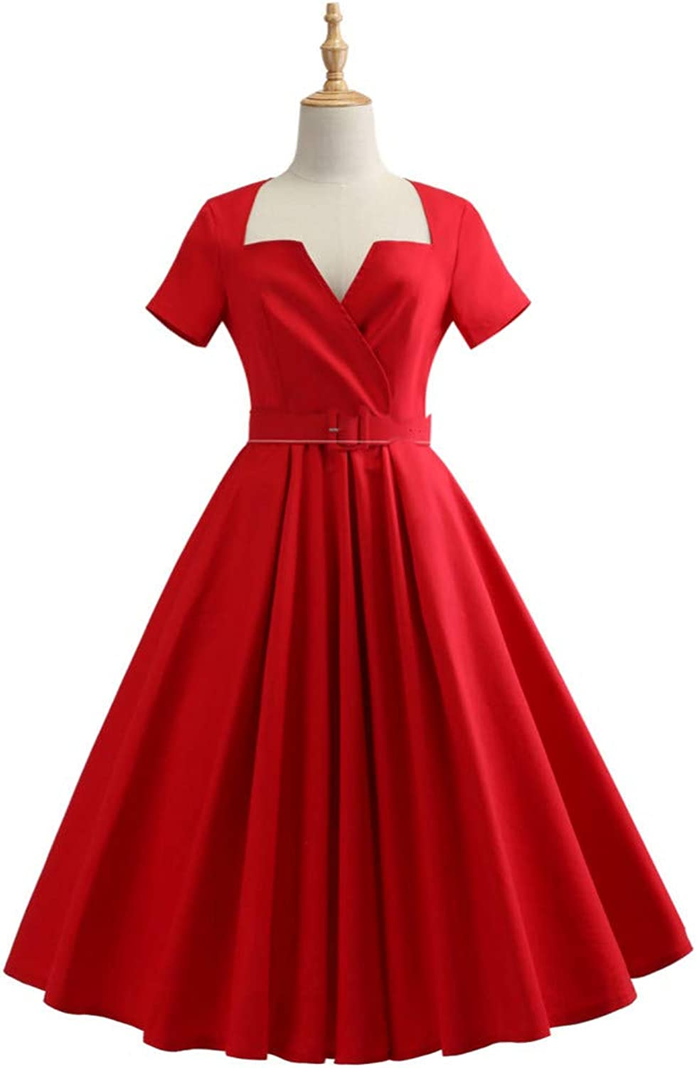 WDBXN Elegant Hepburn Vintage Dress Women Summer Autumn Solid Dress Cotton V-Neck Belt Swing Party Dresses