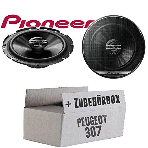 Lautsprecher Boxen Pioneer TS-G1720F - 16,5cm 2-Wege Koax Koaxiallautsprecher Auto Einbausatz - Einbauset für Peugeot 307 - JUST SOUND best choice for caraudio