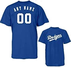 Majestic Athletic Los Angeles Dodgers Custom (Any Name/# on Back) Licensed Replica Jersey Tee