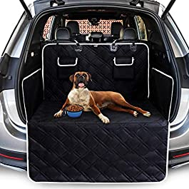 Toozey Complete Car Boot Protector for Dogs, 4 Layers Quilted & Durable Car Boot Dog Blanket with Side and Bumper Protector, Tearproof/Waterproof/Smudge-proof/Slip-proof/Hair-proof, Easy to Clean