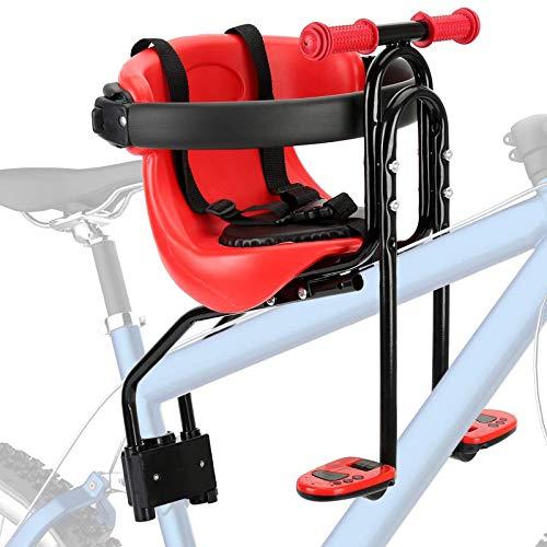 CLOUDH Asiento de La Bicicleta NiñOs, Asiento de Seguridad Infantil Carrier Delantera, El Asiento de La Bicicleta con Respaldo Pedales y Pasamanos, Apto para NiñOs de 8 Meses A 4 AñOs