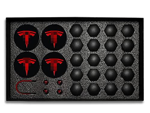 GAOJIA 29 unids Compatible con Tesla Modelo 3 Rueda Corte Caps Cover Cubierta Torr DE Tornillo DE Tornillo Kit TRANSURALES Decorativos Accesorios MODIFICACIÓN DE Coches Accesorios Emblema Insignia