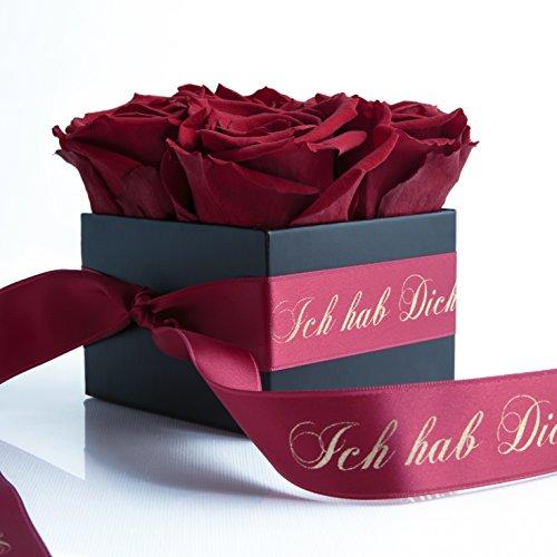 ROSEMARIE SCHULZ Heidelberg Ich hab Dich lieb - Rosenbox mit konservierten Rosen haltbar 3 Jahre - Valentinstag ich Liebe Dich - Geschenk für Frauen (Ich hab Dich lieb, Dunkelrot)