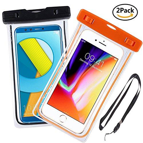 Ycloud [IPX8 Certificato] (2 Pezzi) Adatto Custodia Impermeabile per Homtom HT17   HT17 PRO   HT16   HT16 PRO, Impermeabile Cellulare Dry Bag, Lo Smartphone è a 6.0  Massimo - (Arancia+Nero)
