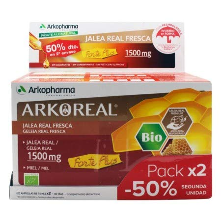 ARKOREAL PACK JALEA REAL FORTE PLUS 1500MG SIN AZUCAR (50% DESCUENTO EN 2º UNIDAD)