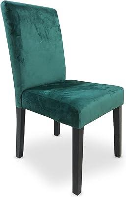 Menzzo Shaliman Chaise matelassée, Velours, Vert, Taille Unique