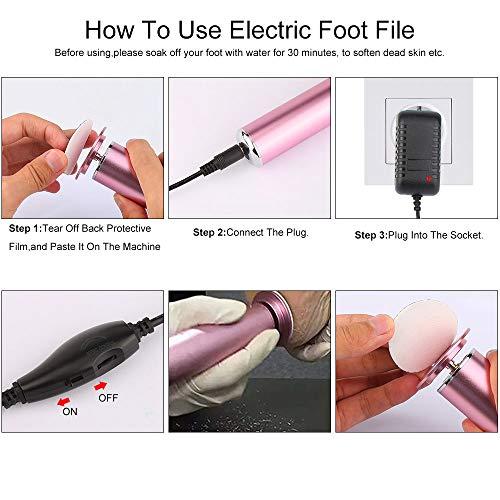 Elektrischer Hornhautentferner, Einstellbare Geschwindigkeit und Wiederaufladbar Fußpflege Hornhaut Entfernung mit Austauschbaren Fußfeilen(60 Ersatz Schleifkissen) für Pediküre Fußfeile