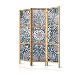 murando - Biombo Mandala 135x171 cm - 3 Paneles Lienzo de Tejido no Tejido Tela sintética Separador Madera Design de Moda Hecho a Mano Deco Home Office Japón - p-C-0010-z-b
